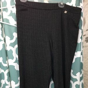 Xl tall gray stripped pull on pants New York& co